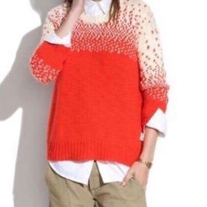 {Madewell} Orange drift stitch 3/4 sleeve sweater